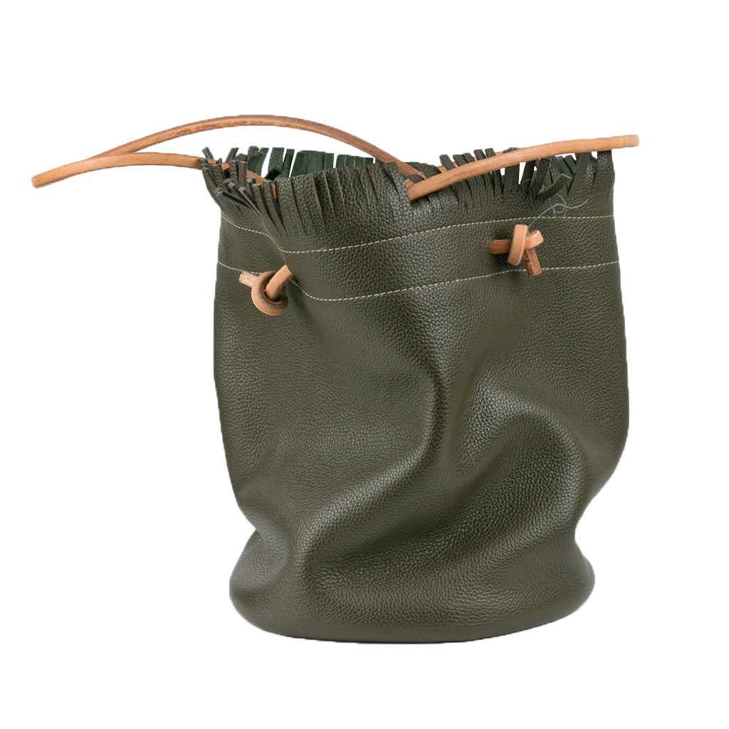 Bucket Bag green with fringe