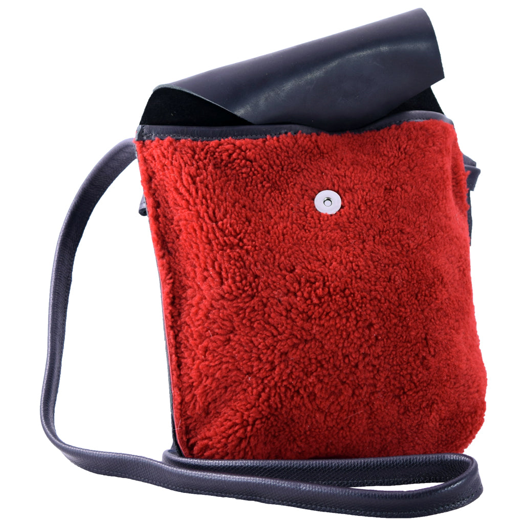 Flap Bag red wool fleece