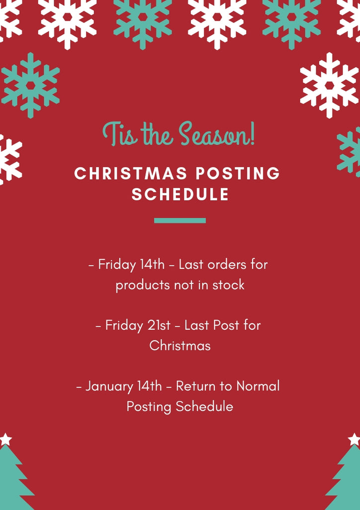 Christmas Posting Schedule