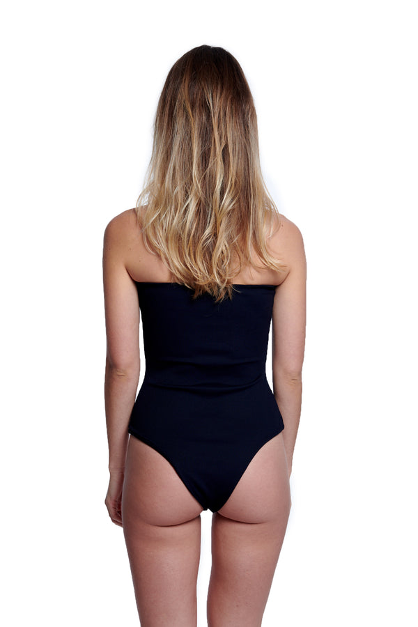 Ella One Piece Ribbed Raven