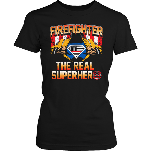 Limited Edition T-shirt Hoodie Tank Top - Firefighter The Real Superhero - Womens Shirt / Black / S - My Revolutional Shop - 2