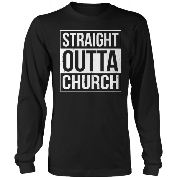 Limited Edition T-shirt Hoodie Tank Top - Straight Outta Church - Long Sleeve / Black / S - My Revolutional Shop - 3