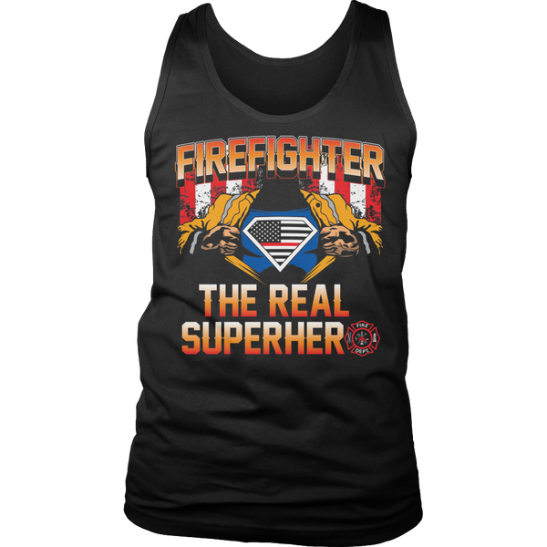Limited Edition T-shirt Hoodie Tank Top - Firefighter The Real Superhero - Mens Tank Top / Black / S - My Revolutional Shop - 6