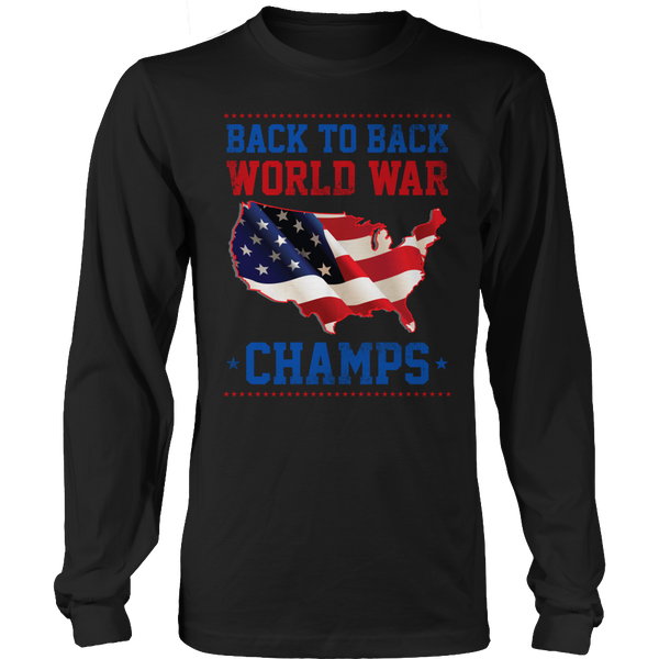 Limited Edition T-shirt Hoodie Tank Top - Back to Back World War Champs - Long Sleeve / Black / S - My Revolutional Shop - 3
