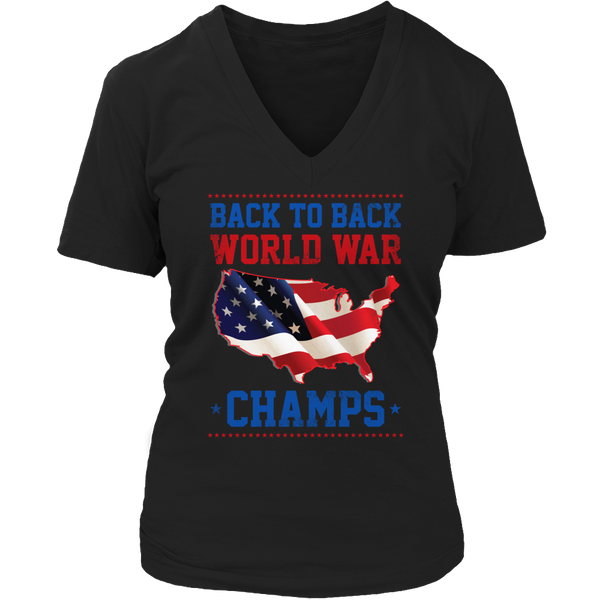 Limited Edition T-shirt Hoodie Tank Top - Back to Back World War Champs - Womens V-Neck / Black / S - My Revolutional Shop - 4