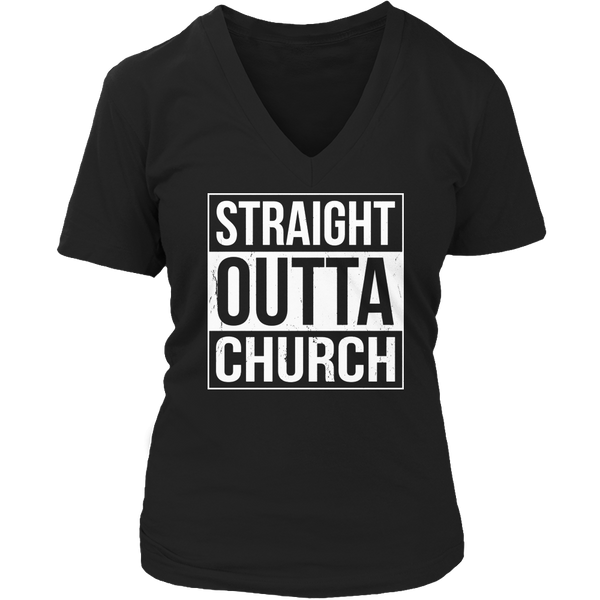 Limited Edition T-shirt Hoodie Tank Top - Straight Outta Church - Womens V-Neck / Black / S - My Revolutional Shop - 5