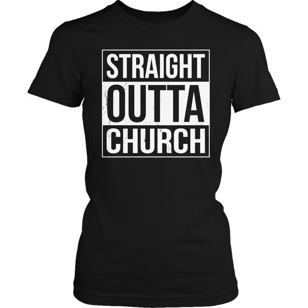 Limited Edition T-shirt Hoodie Tank Top - Straight Outta Church - Womens Shirt / Black / S - My Revolutional Shop - 2