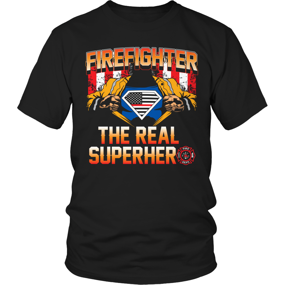 Limited Edition T-shirt Hoodie Tank Top - Firefighter The Real Superhero - Unisex Shirt / Black / S - My Revolutional Shop - 1