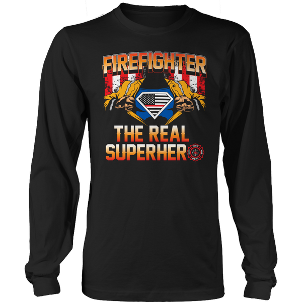 Limited Edition T-shirt Hoodie Tank Top - Firefighter The Real Superhero - Long Sleeve / Black / S - My Revolutional Shop - 3
