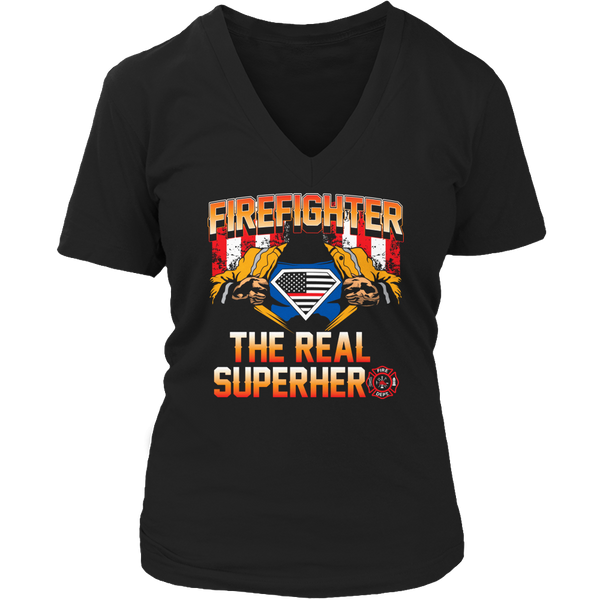 Limited Edition T-shirt Hoodie Tank Top - Firefighter The Real Superhero - Womens V-Neck / Black / S - My Revolutional Shop - 5