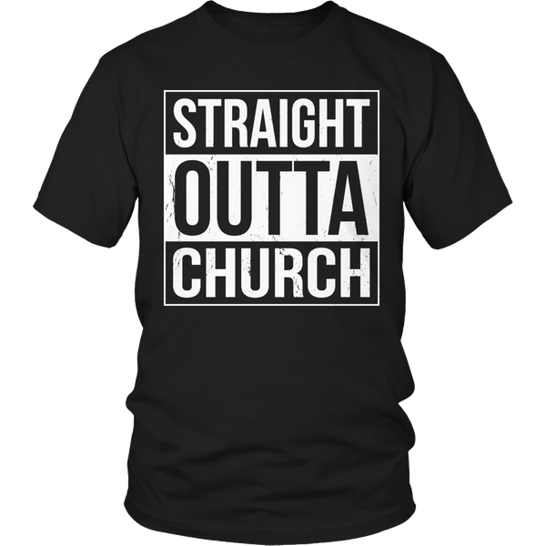 Limited Edition T-shirt Hoodie Tank Top - Straight Outta Church - Unisex Shirt / Black / S - My Revolutional Shop - 1