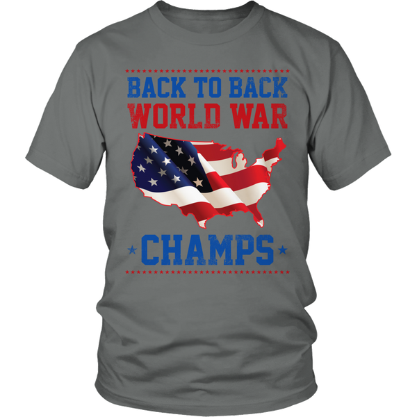 Limited Edition T-shirt Hoodie Tank Top - Back to Back World War Champs - Unisex Shirt / Grey / S - My Revolutional Shop - 1