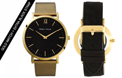 William Strouch Gold Watch with Chain Metal and Black Leather Straps - Gold - My Revolutional Shop - 1