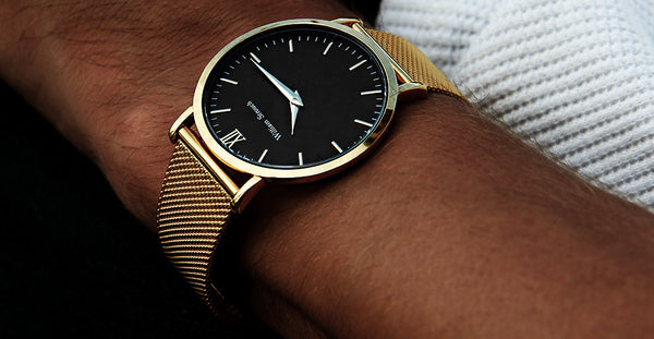 William Strouch Gold Watch with Chain Metal and Black Leather Straps -  - My Revolutional Shop - 3