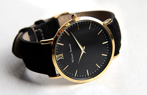 William Strouch Gold Watch with Chain Metal and Black Leather Straps -  - My Revolutional Shop - 5
