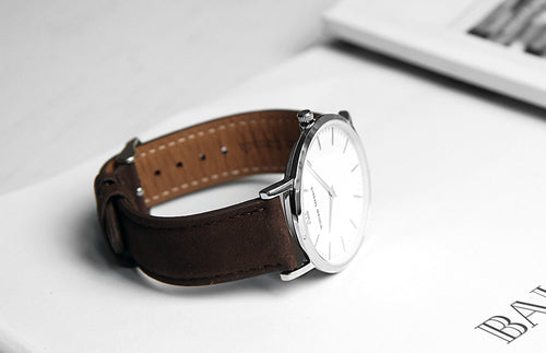 William Strouch Silver Chain Metal with Brown Leather Strap -  - My Revolutional Shop - 3