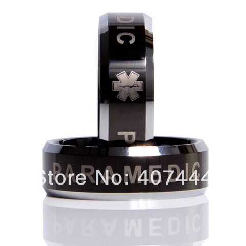 Black Tungsten 8MM Two-Tone Paramedic EMT Ring -  - My Revolutional Shop - 1