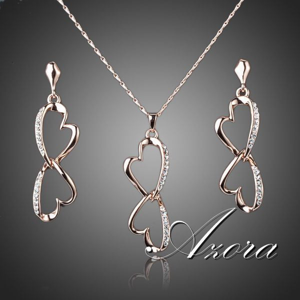 Jewelry Set, 18K Gold Plated Azora Double Hearts -  - My Revolutional Shop - 1