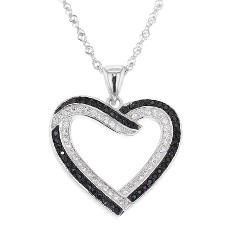 Fashion Jewelry - Open Heart Necklace, .925 Sterling, Black & White Natural Diamond,