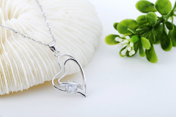 Pendant Necklace, .925 Sterling Silver and CZ Double Heart Design -  - My Revolutional Shop - 1