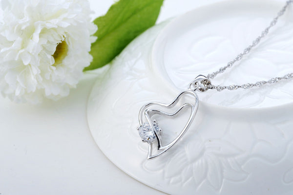 Pendant Necklace, .925 Sterling Silver and CZ Double Heart Design -  - My Revolutional Shop - 3