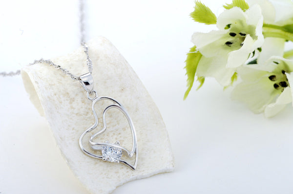 Pendant Necklace, .925 Sterling Silver and CZ Double Heart Design -  - My Revolutional Shop - 4