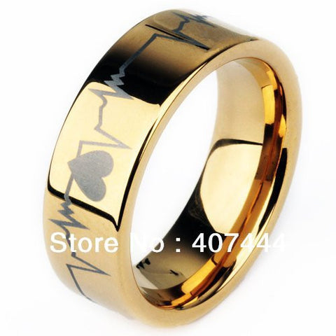 18K Gold Plated Tungsten Carbide Ring Laser Engraved Forever Love EKG -  - My Revolutional Shop