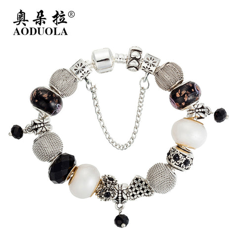 Bracelet, Silver Plated Alloy Glass Bangles and Beads -  - My Revolutional Shop - 1