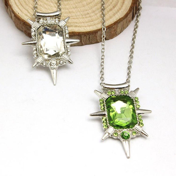 Once Upon A Time Wicked Witch's Green Or White Crystal Pendant Necklace