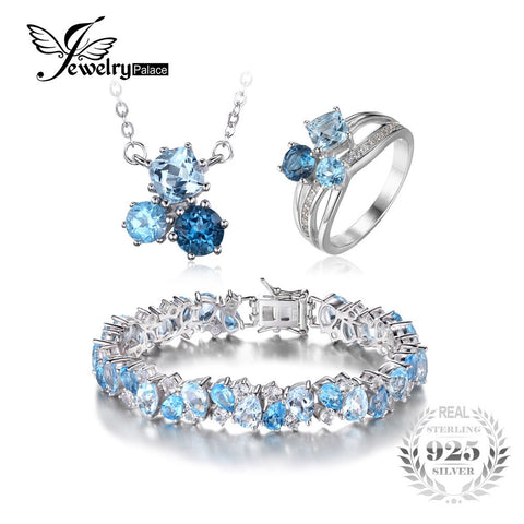 Jewelry set, London Blue Topaz 3 Stone Ring, Pendant Necklace, & Link Tennis Bracelet .925 Sterling Silver
