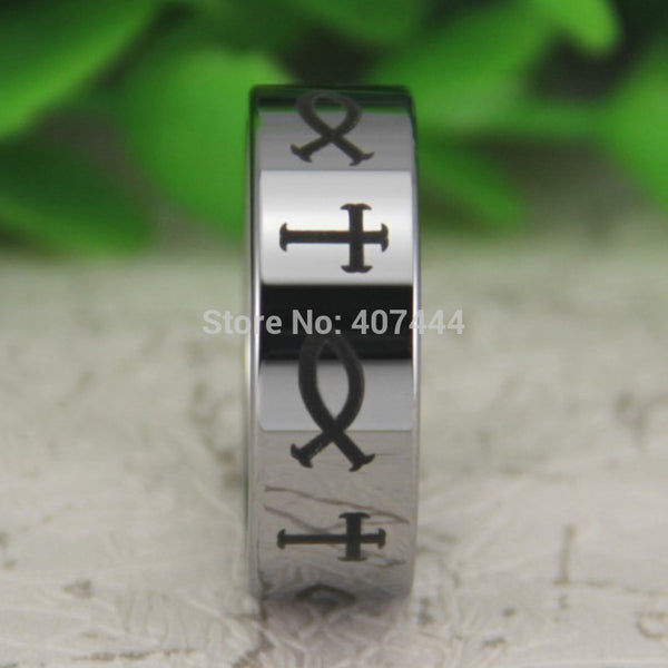 Silver Pipe Jesus Cross & Fish Tungsten Carbide Ring