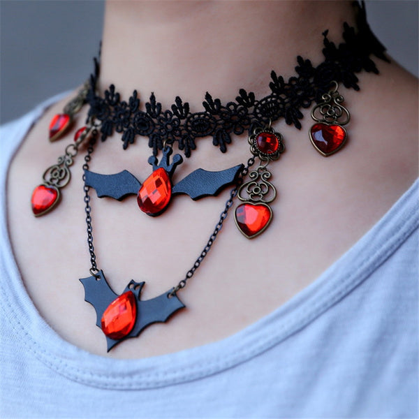 Vintage Look Bat & Lace Necklace