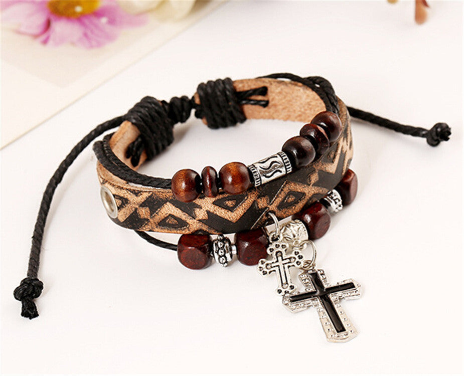 Leather & Beads with Crosses Adjustable Bracelet