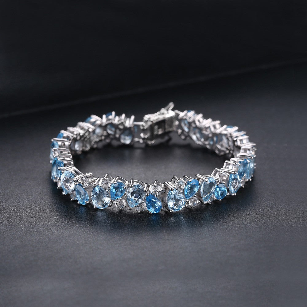 Tennis Bracelet, London Blue Topaz .925 Sterling Silver