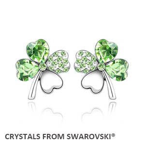Lucky Four Leaf Clover Stud Earrings, from Swarovski