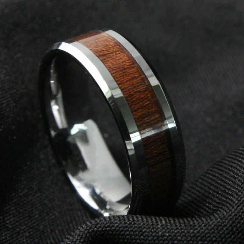 Queenwish® Black Silvering Tungsten Carbide Ring with Koa Wood Inlay