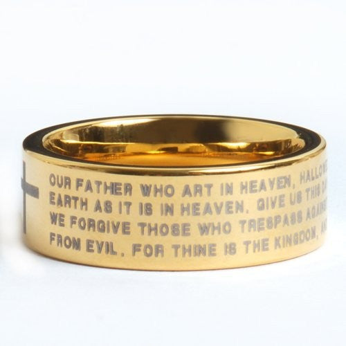 Golden Tungsten Carbide Ring , Inscribed with The Lord's Prayer