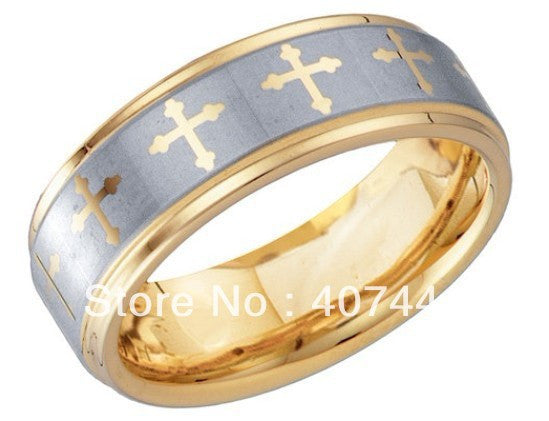 Gold Tungsten Carbide Ring, Inscribed with Cross