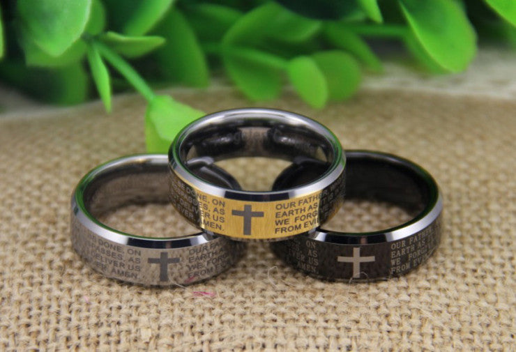 Beveled Men's Ring With The Lord's Prayer in Gold, Black or Silver