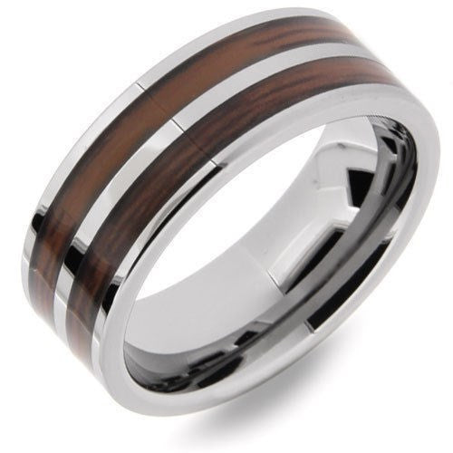 Men's Ring, Tungsten Double Wood Silver Pipe, High Polish -  - My Revolutional Shop - 2