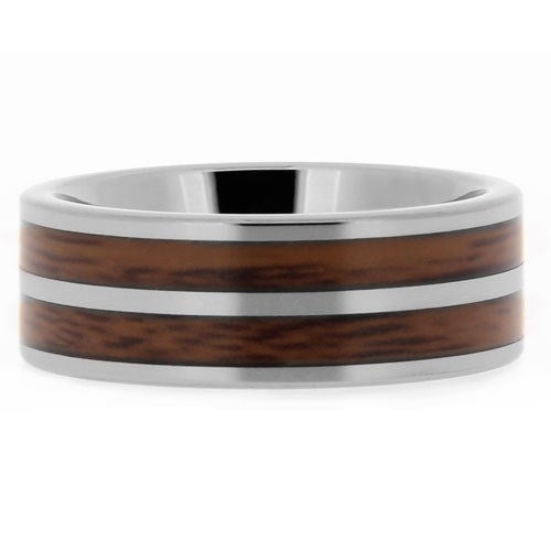 Men's Ring, Tungsten Double Wood Silver Pipe, High Polish -  - My Revolutional Shop - 3