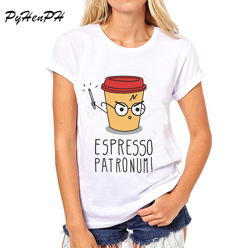 Harry Potter Coffee Espresso Design Women's T-shirt - White / L - My Revolutional Shop - 2