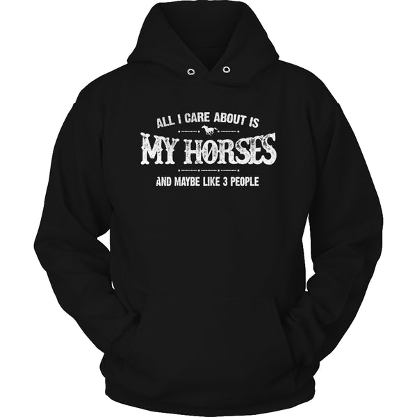 Limited Edition T-shirt Hoodie - All I Care About Is My Horses And Maybe Like 3 People - Hoodie / Black / S - My Revolutional Shop - 4