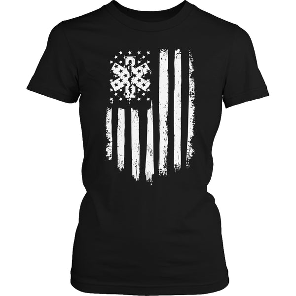 Limited Edition T-shirt Hoodie - EMT Flag - Womens Shirt / Black / S - My Revolutional Shop - 2