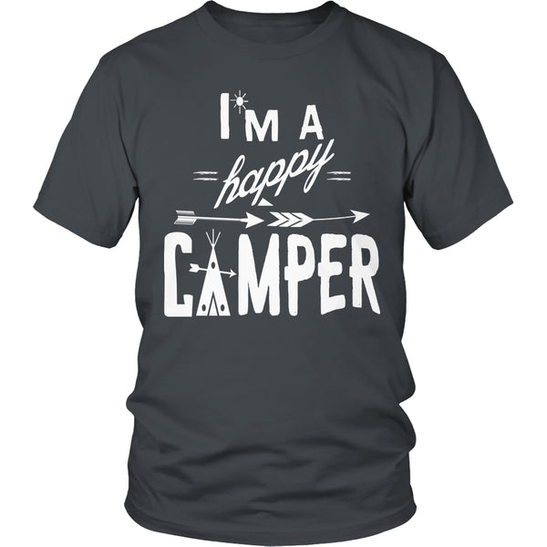 Limited Edition T-shirt Hoodie - I'm A Happy Camper - Unisex Shirt / Charcoal / S - My Revolutional Shop - 1