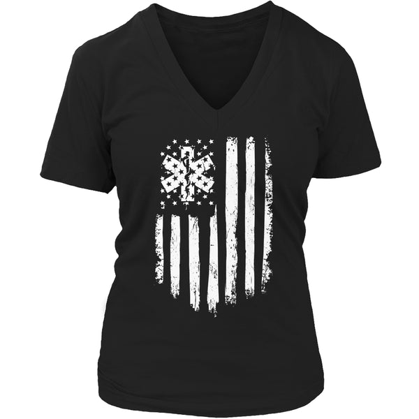 Limited Edition T-shirt Hoodie Tank Top - EMT Flag - Womens V-Neck / Black / S - My Revolutional Shop - 5
