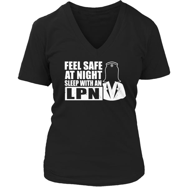 Limited Edition T-shirt Hoodie Tank top - Feel safe at night sleep with a LPN (female) - Womens V-Neck / Black / S - My Revolutional Shop - 5