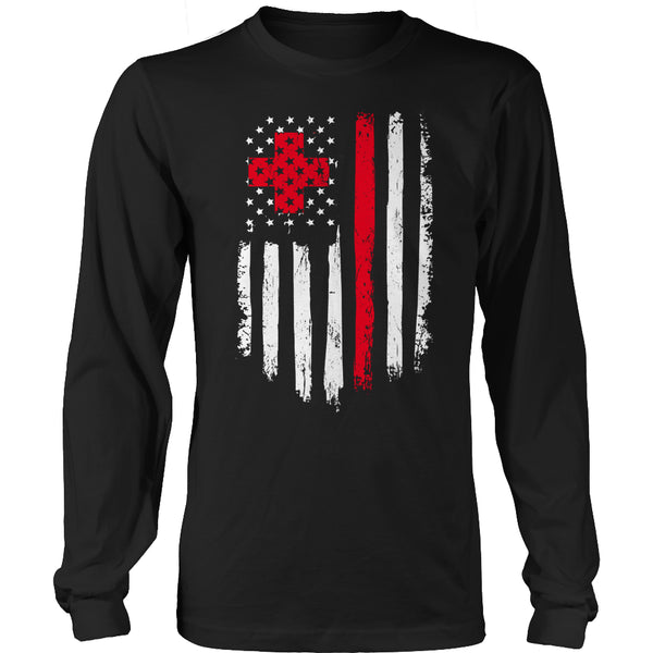 Limited Edition T-shirt Hoodie Tank Top - Nurse Flag - Long Sleeve / Black / S - My Revolutional Shop - 3