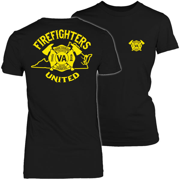 Limited Edition T-shirt Hoodie  - 'Your State' Firefighters United - Womens Shirt / Black / S - My Revolutional Shop - 2