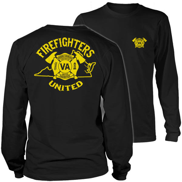 Limited Edition T-shirt Hoodie  - 'Your State' Firefighters United - Long Sleeve / Black / S - My Revolutional Shop - 3